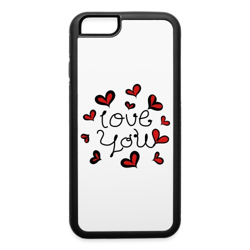 Love You hand-drawn font with hearts 1 - iPhone 6/6s Rubber Case