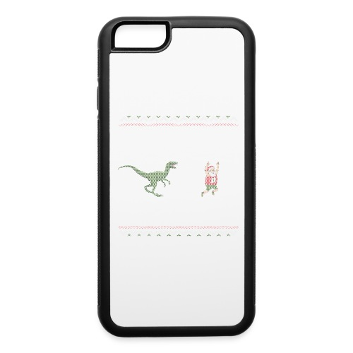 Ugly Christmas Sweater Running Dino and Santa - iPhone 6/6s Rubber Case