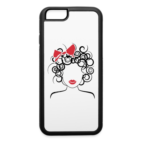 Curly Girl with Red Bow_Global Couture_logo T-Shir - iPhone 6/6s Rubber Case