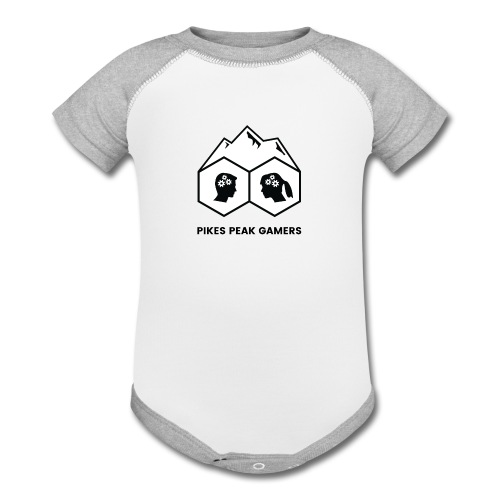 Pikes Peak Gamers Logo (Solid White) - Contrast Baby Bodysuit