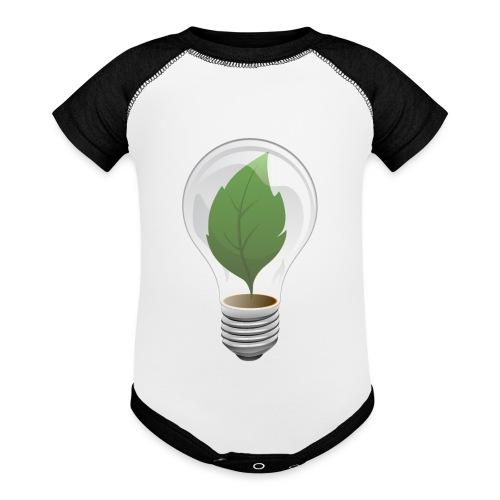 Clean Energy Green Leaf Illustration - Contrast Baby Bodysuit