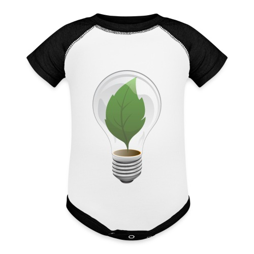 Clean Energy Green Leaf Illustration - Contrast Baby Bodysuit