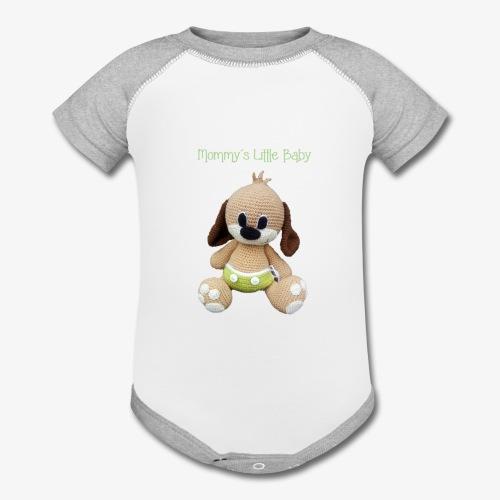 Puppy in a diaper - Contrast Baby Bodysuit
