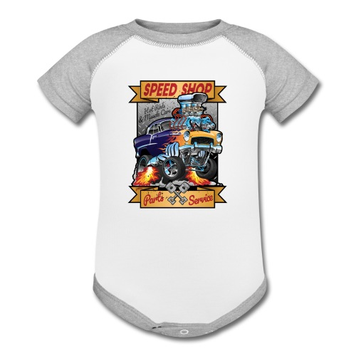 Speed Shop Hot Rod Muscle Car Cartoon Illustration - Contrast Baby Bodysuit