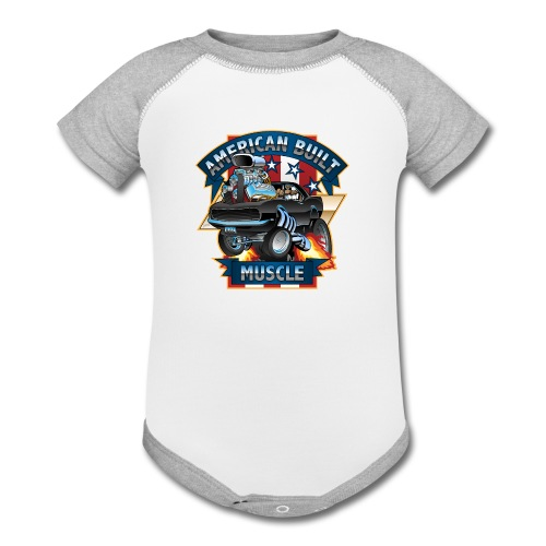 American Built Muscle - Classic Muscle Car Cartoon - Contrast Baby Bodysuit