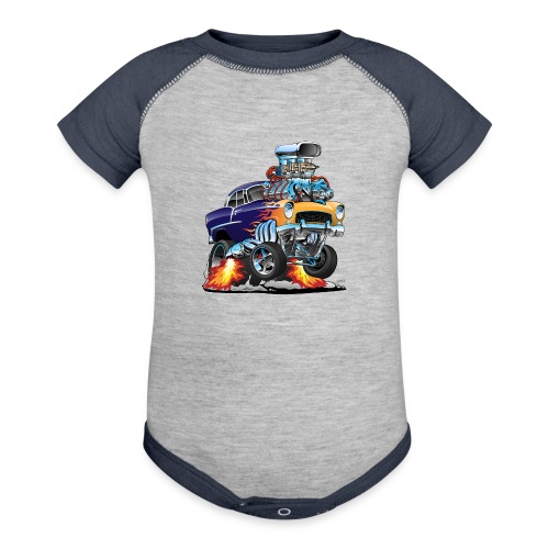 Classic Fifties Hot Rod Muscle Car Cartoon - Contrast Baby Bodysuit