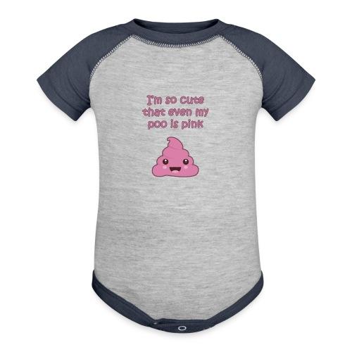 Adorable pink poo - Contrast Baby Bodysuit