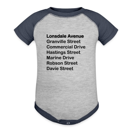 Street Names Black Text - Baseball Baby Bodysuit