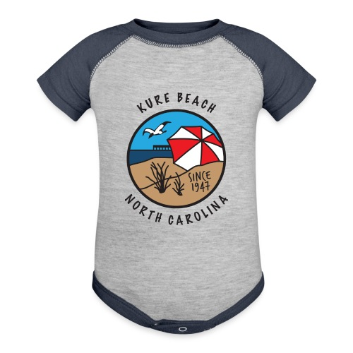 Kure Beach Day-Black Lettering-Front Only - Baseball Baby Bodysuit