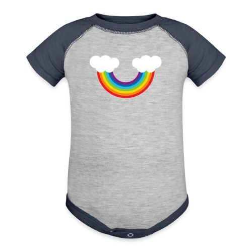 Rainbow with two clouds - Baseball Baby Bodysuit