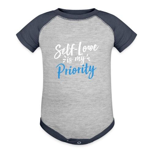 Self-Love is My Priority Shirt Design - Contrast Baby Bodysuit
