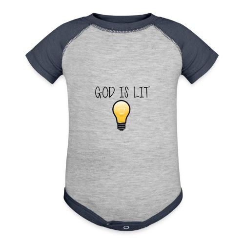 God is Lit - Contrast Baby Bodysuit