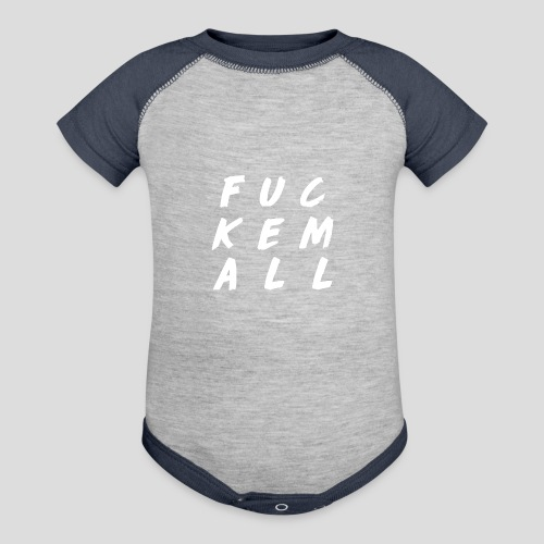 FUCKEMALL White Logo - Contrast Baby Bodysuit