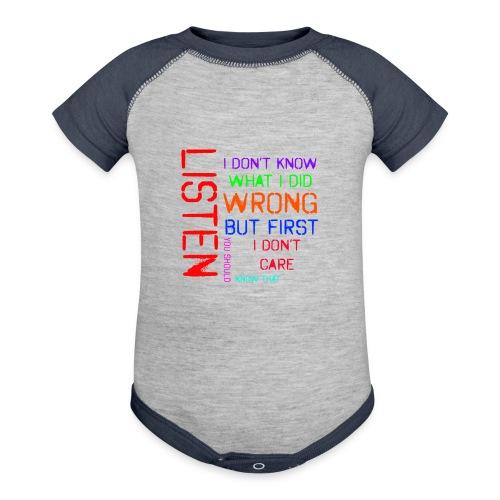 I don't care - Baseball Baby Bodysuit