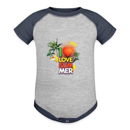 I love summer - Baseball Baby Bodysuit
