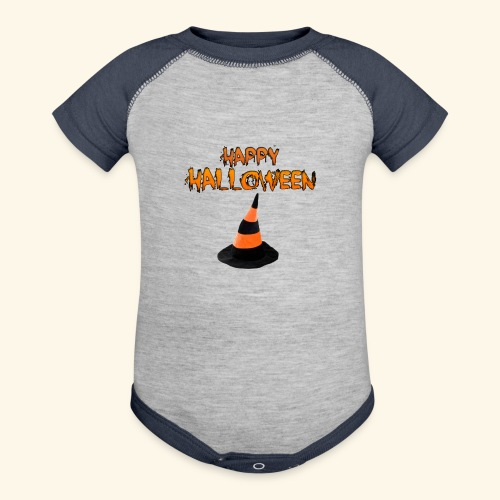 HAPPY HALLOWEEN WITCH HAT TEE - Baseball Baby Bodysuit