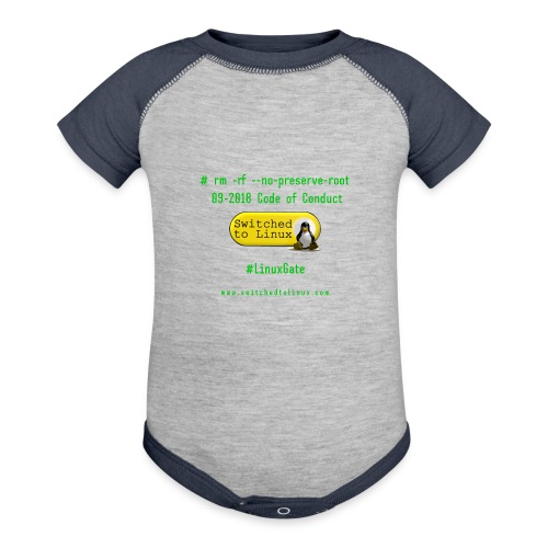 rm Linux Code of Conduct - Contrast Baby Bodysuit
