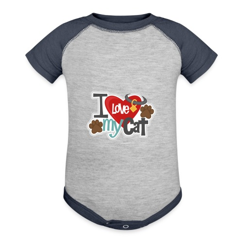 i love my cat - Baseball Baby Bodysuit