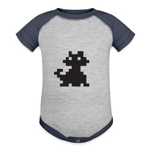 Pixelated Black Cat - Videogame, Retro Gaming - Baseball Baby Bodysuit