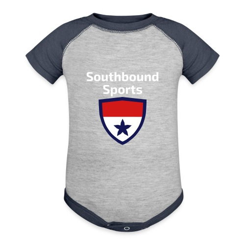 The Southbound Sports Shield Logo. - Baby Contrast One Piece