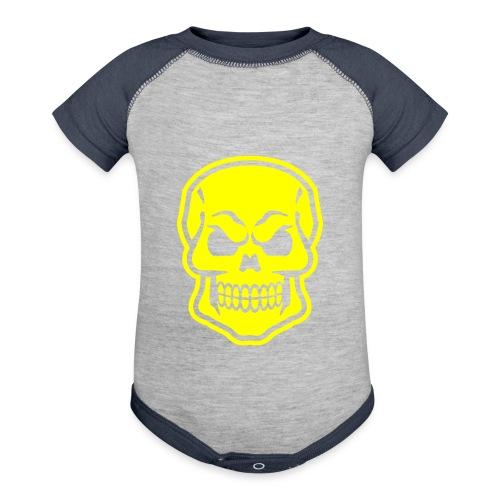 Skull vector yellow - Baseball Baby Bodysuit
