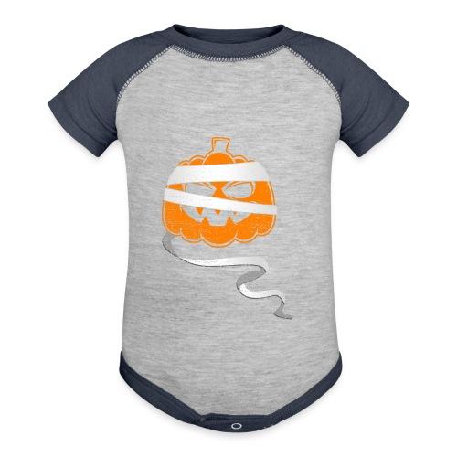 Halloween Bandaged Pumpkin - Baseball Baby Bodysuit