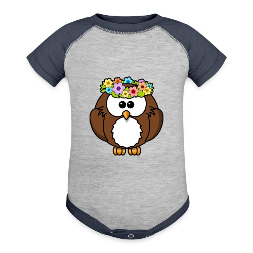 Owl With Flowers On Head T-Shirt - Contrast Baby Bodysuit
