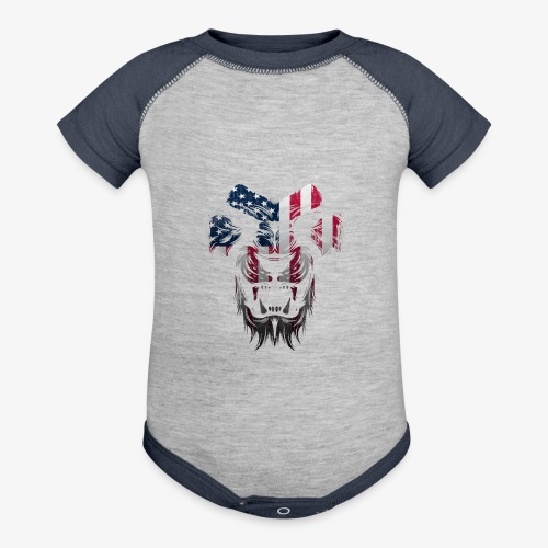 American Flag Lion Shirt - Baseball Baby Bodysuit