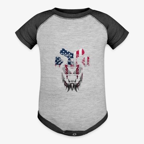 American Flag Lion Shirt - Baseball Baby Bodysuit