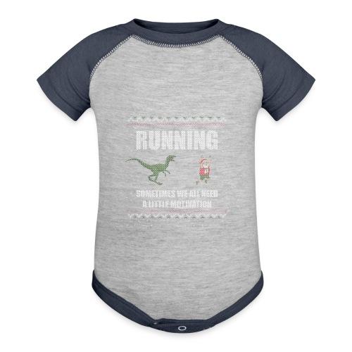 Ugly Christmas Sweater Running Dino and Santa - Baseball Baby Bodysuit