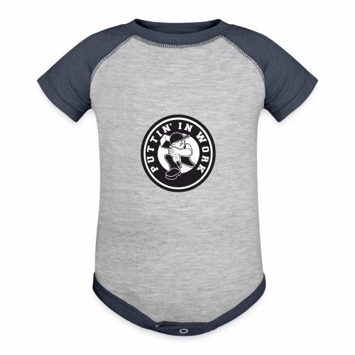 Solid Puttin' In Work Logo - Contrast Baby Bodysuit