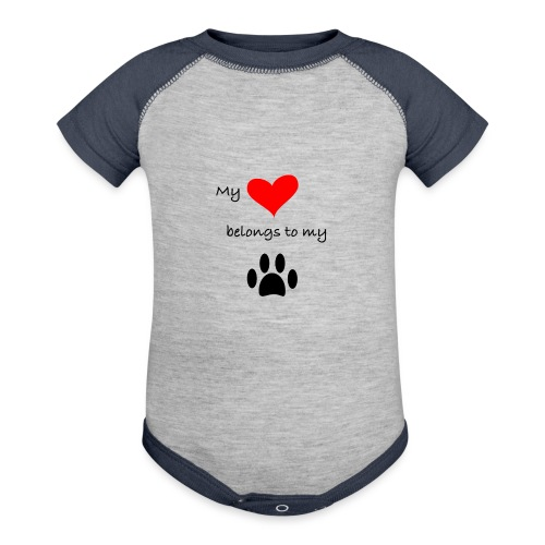 Dog Lovers shirt - My Heart Belongs to my Dog - Baseball Baby Bodysuit