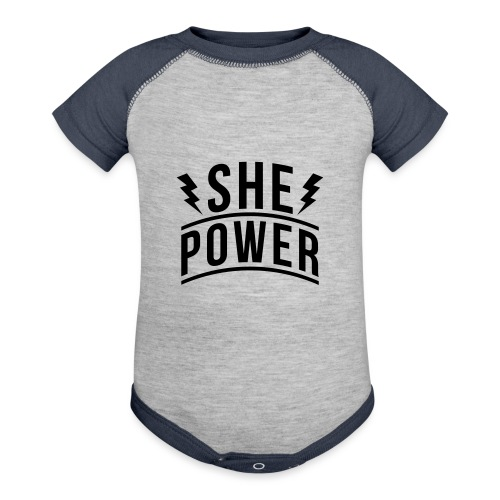 She Power - Baseball Baby Bodysuit