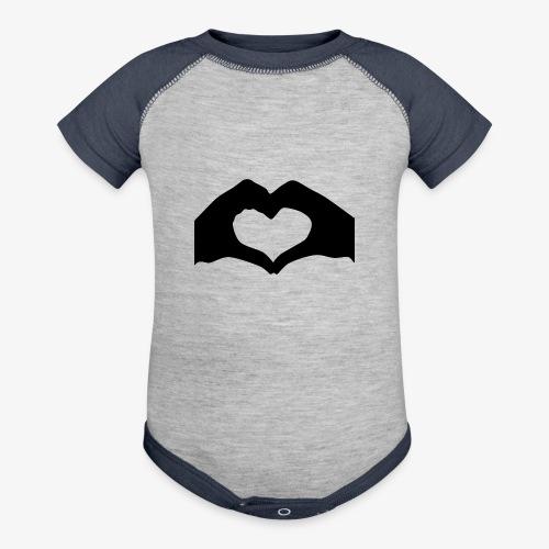 Silhouette Heart Hands | Mousepad - Baseball Baby Bodysuit