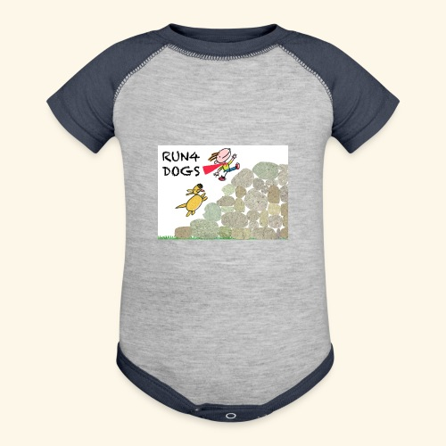 Dog chasing kid - Contrast Baby Bodysuit