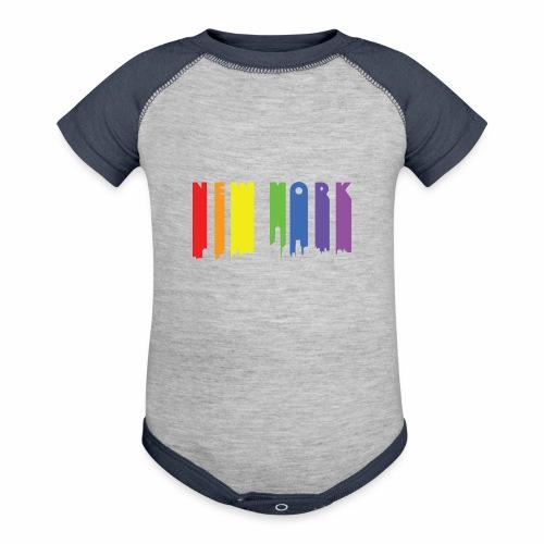 New York design Rainbow - Baseball Baby Bodysuit