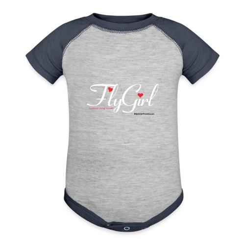 FlyGirlTextWhite W Black png - Baseball Baby Bodysuit