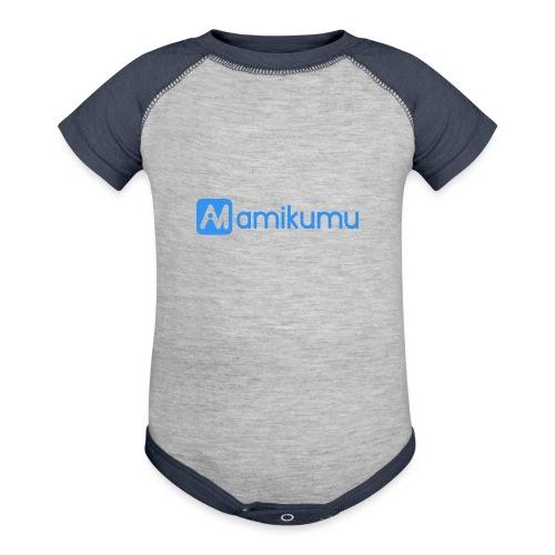 Amikumu Logo Blue - Baseball Baby Bodysuit
