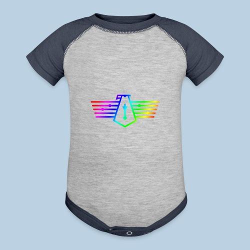 Westport Bird Rainbow on transparent - Baseball Baby Bodysuit