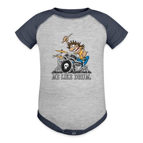 Me Like Drum. Wild Drummer Cartoon Illustration - Contrast Baby Bodysuit