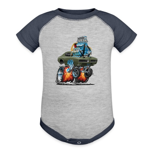Classic American Muscle Car Hot Rod Cartoon - Contrast Baby Bodysuit