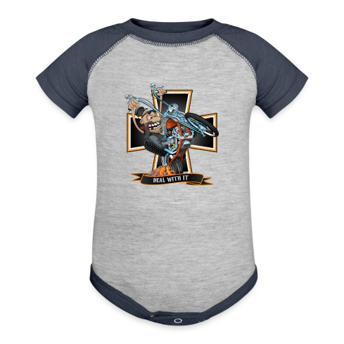Deal with it - funny biker riding a chopper - Contrast Baby Bodysuit