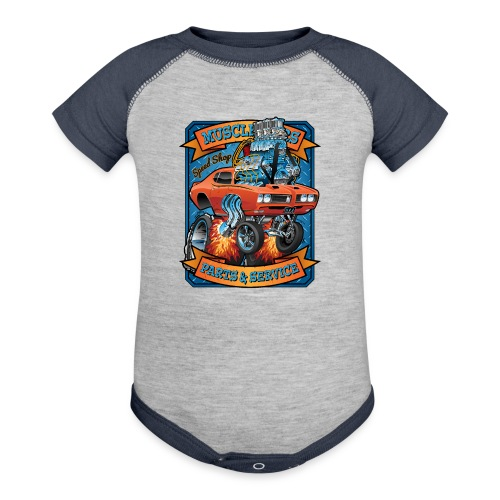 Classic Sixties Muscle Car Parts & Service Cartoon - Contrast Baby Bodysuit