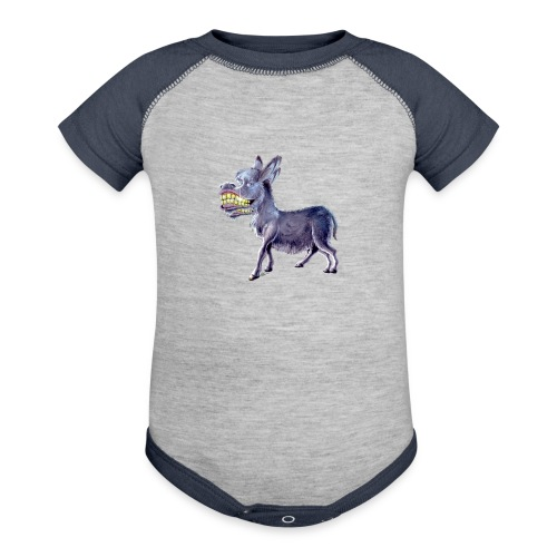 Funny Keep Smiling Donkey - Baseball Baby Bodysuit