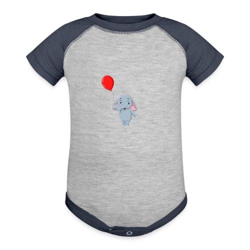 Baby Elephant Holding A Balloon - Baseball Baby Bodysuit