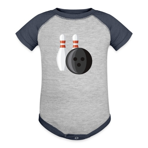 Bowling Ball and Pins - Baseball Baby Bodysuit