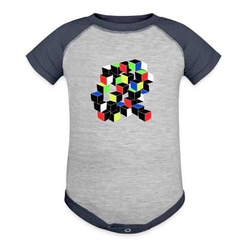Optical Illusion Shirt - Cubes in 6 colors- Cubist - Baseball Baby Bodysuit