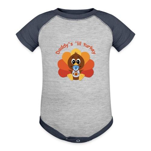 Daddy's 'lil turkey - boy edition - Baseball Baby Bodysuit