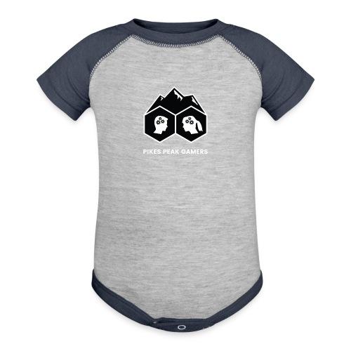 Pikes Peak Gamers Logo (Solid Black) - Contrast Baby Bodysuit