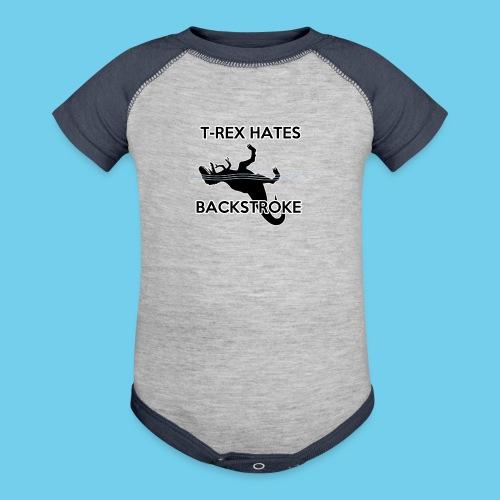 T Rex Hates Backstroke - Baseball Baby Bodysuit